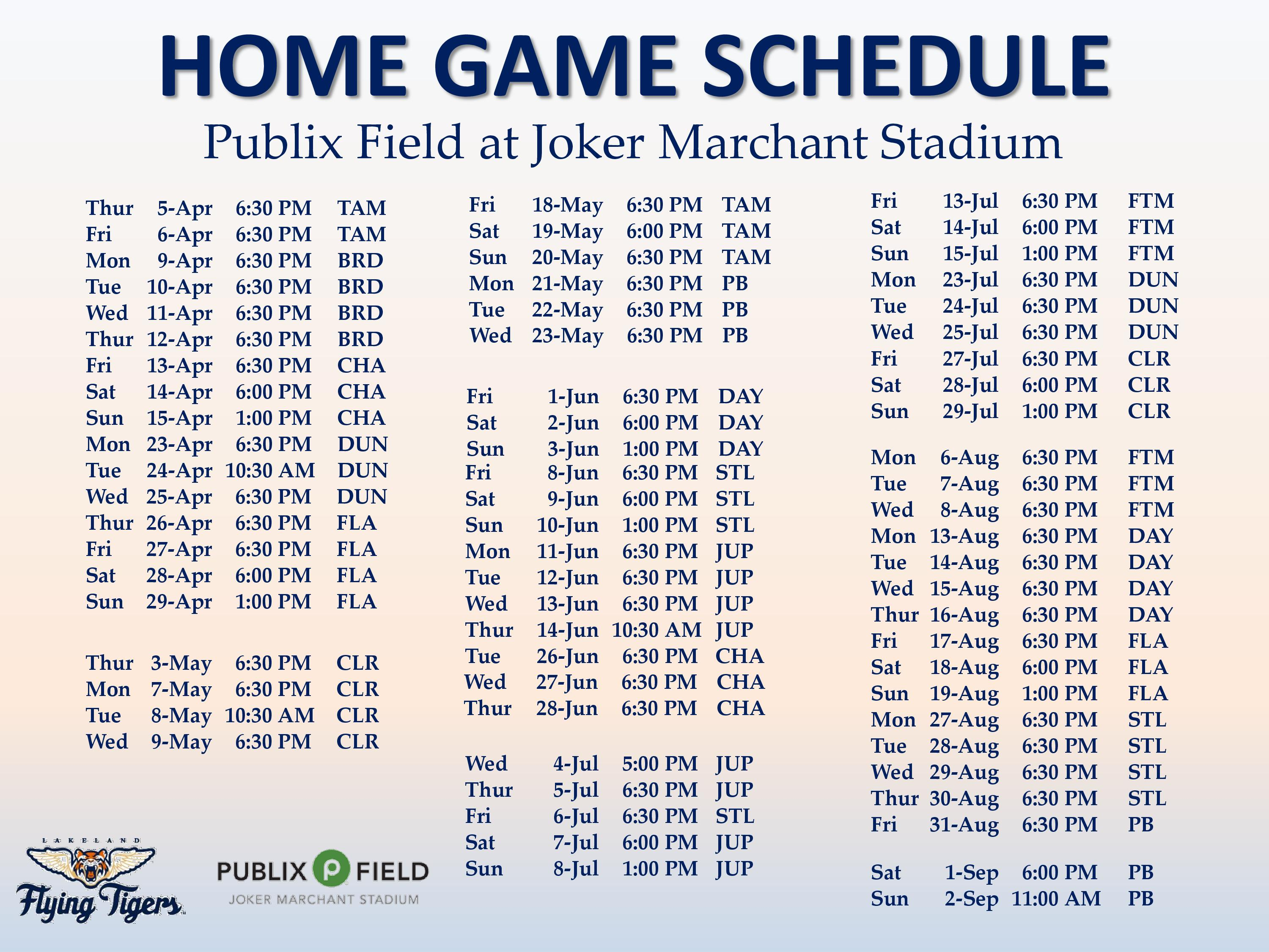 Lakeland Flying Tigers Schedule