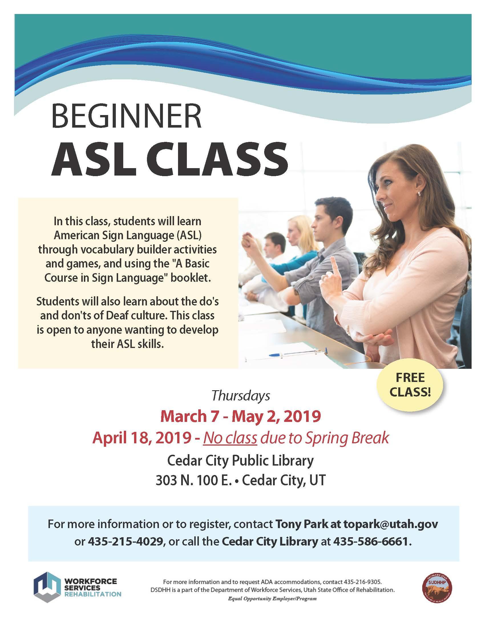 CEDAR CITY: Beginner ASL Class