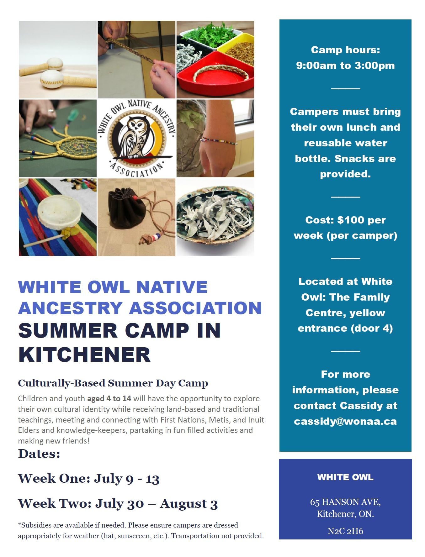 White Owl Native Ancestry Association Summer Camp in Kitchener