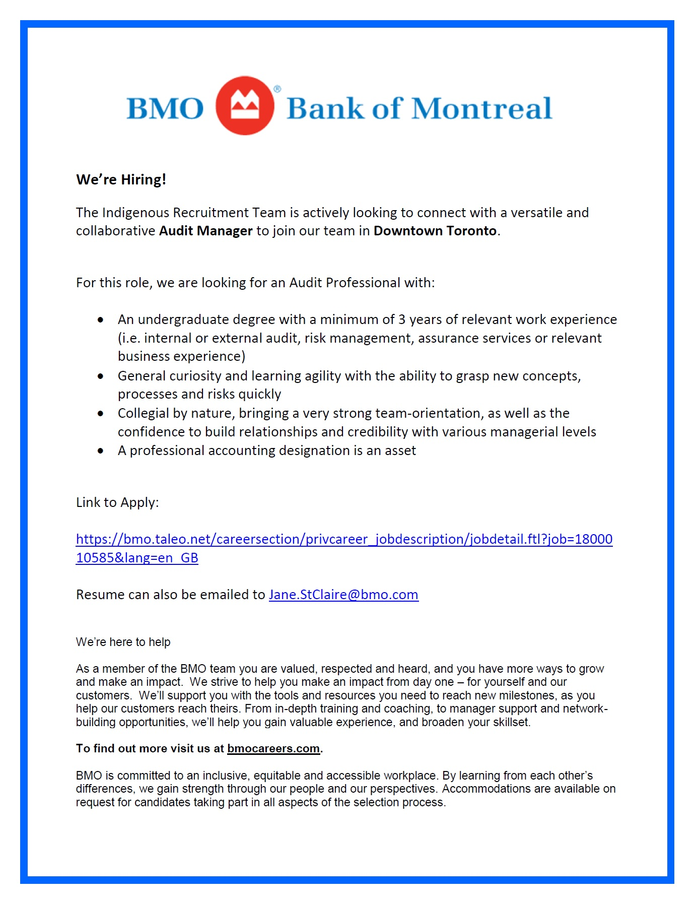 Audit Manager - Bank of Montreal - Toronto