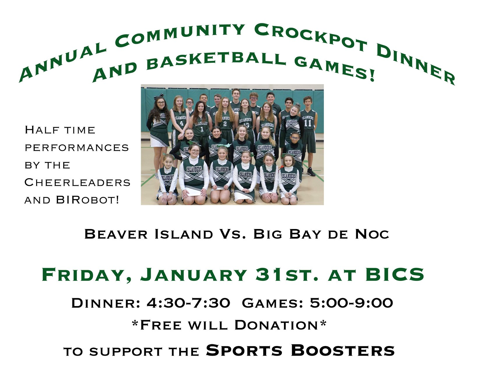 Annual Community Crockpot Dinner @ Beaver Island Community School